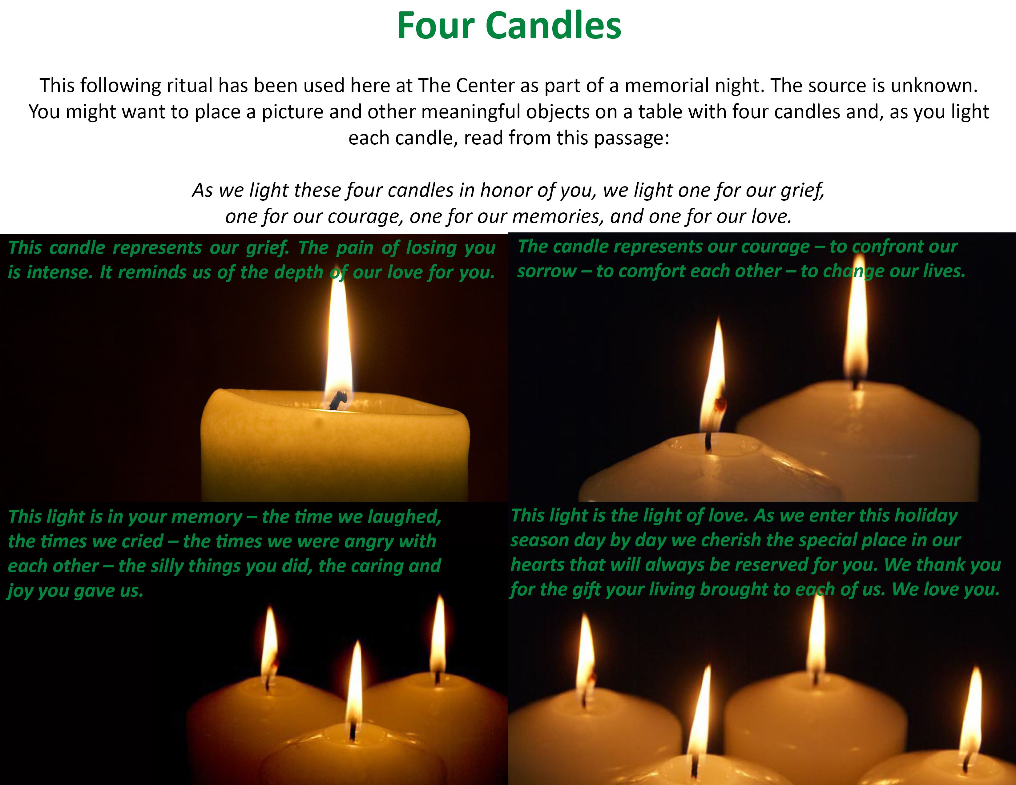 The Four Candles Ritual Is One Used Annually At The Center For Grieving Children At Our