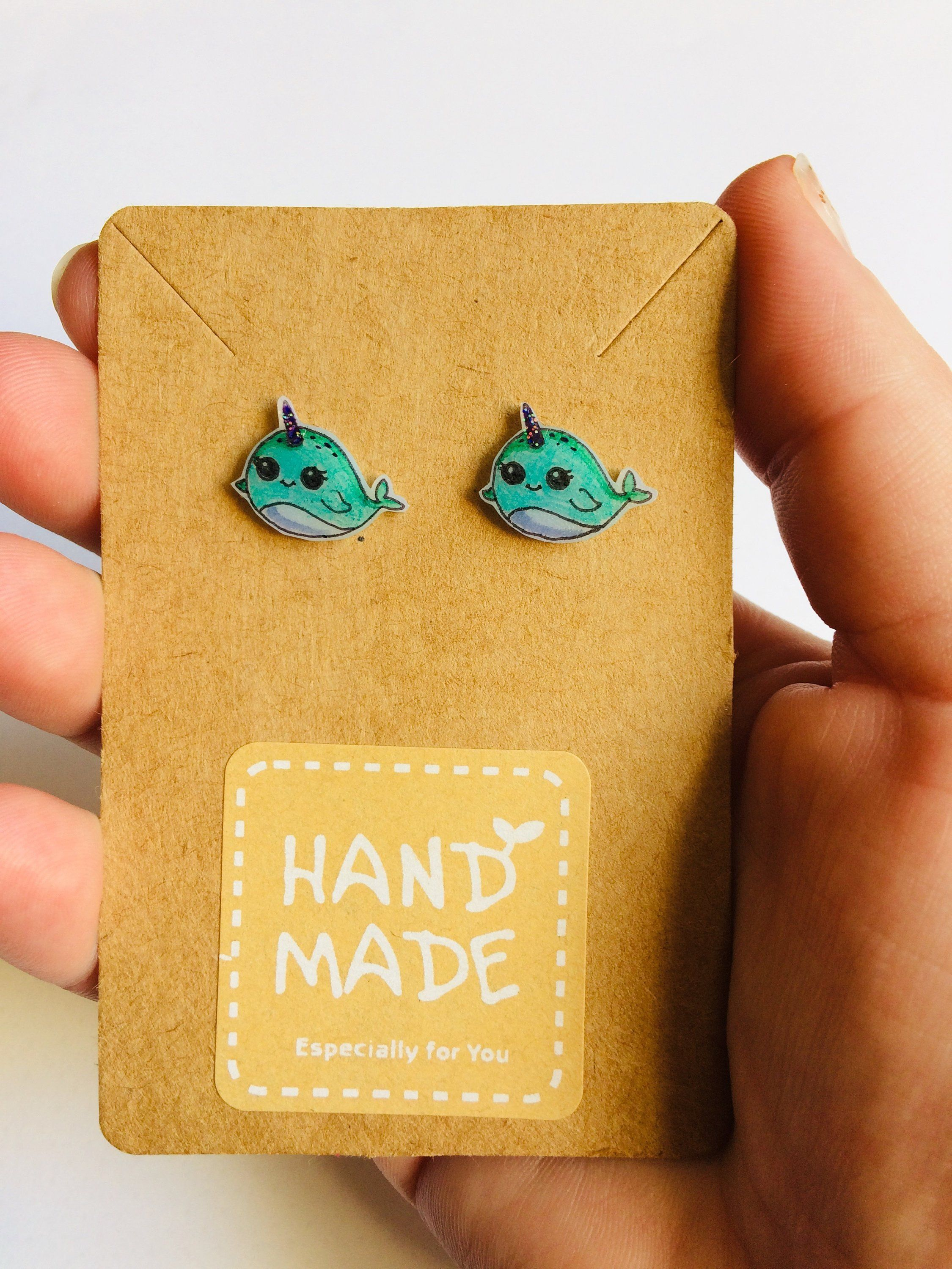 Cute narwhals. Narwhal gifts. Girls earrings. Little girls earrings. Kawaii narwhal.