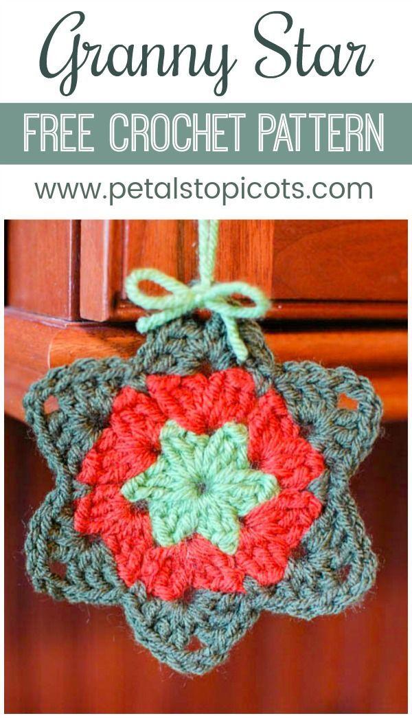 Granny Star - Free Crochet Pattern | Ganchillo, Navidad y Tejo