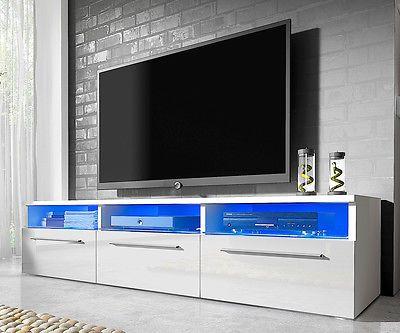 High Gloss Matt TV Unit Cabinet Stand White Black Grey Free LED - tv grau beige