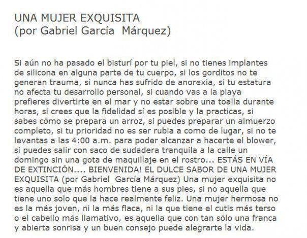 Una mujer exquisita #GarciaMarquez