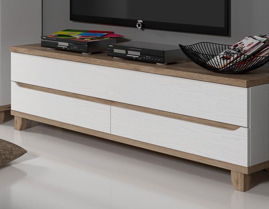 Meuble TV scandinave blanc et couleur bois ALVIN muebles