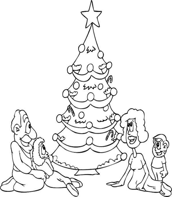 Christmas Tree And The Family Christmas Coloring Page Celebracion