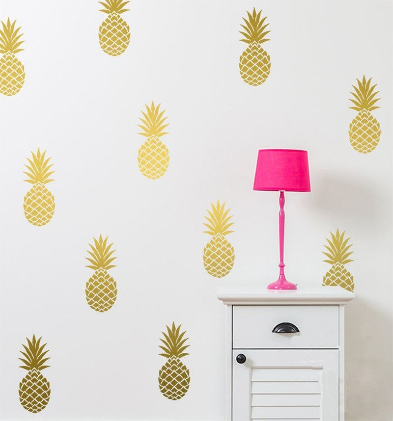 Removable Pineapples Wall Decal, Large 12 Pineapples