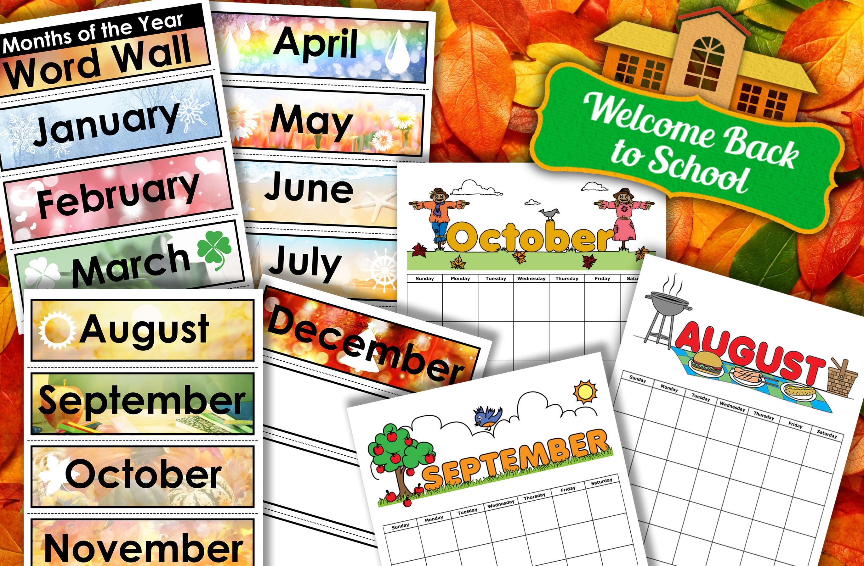 Print Out Fun Seasonal Calendars From