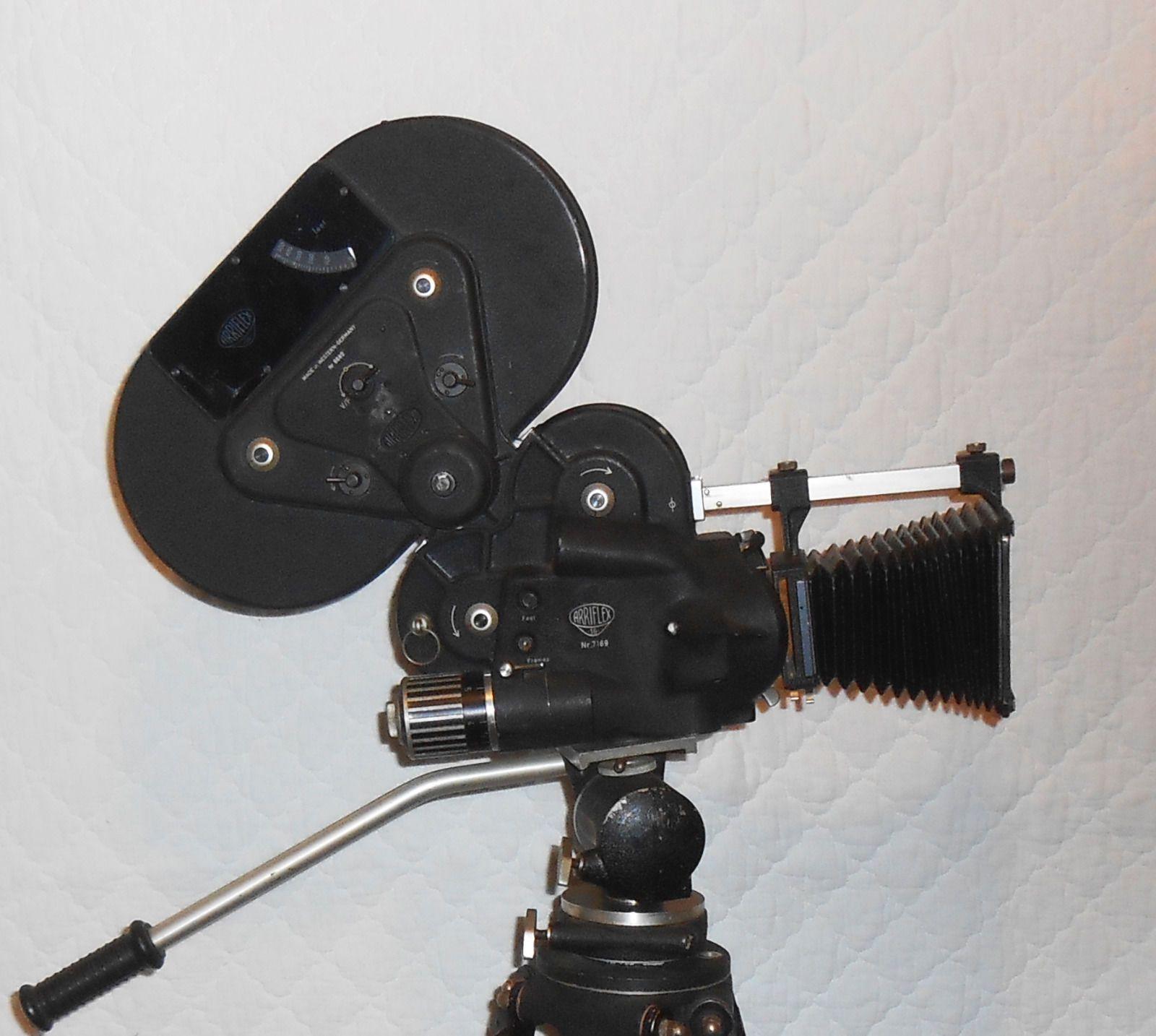 Vintage Arriflex 16 Movie Camera 16mm with Miller Fluid Head Wood
