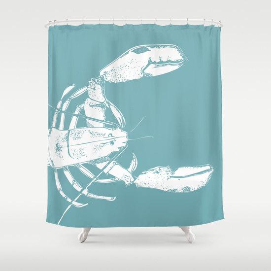 Red Lobster Shower Curtain Nautical Shower By Riveroakstudio