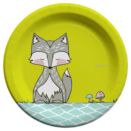 Cheeky Kids Gray Fox With Lime Yellow Paper Plates 9 30 Count Target Yellow Paper Paper Plates Grey Fox