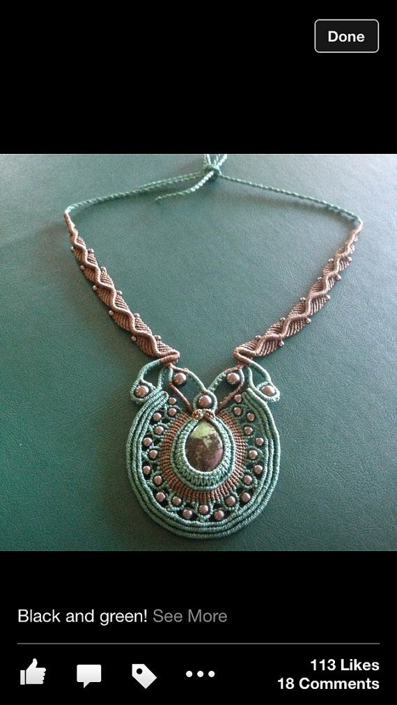 Handcrafted Macrame Necklace by JoMacrame - Ruby Zoisite semi precious stone with beads and a silver clasp