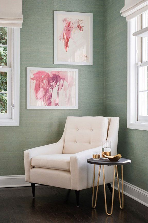 Beautiful Corner In A Room With Natural Green Wallpaper And Pink Art