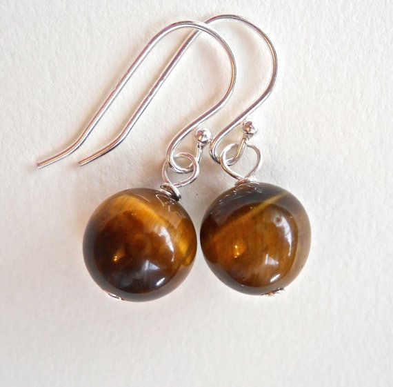 Tiger Eye Earrings Tigers Sterling Silver Jewelry Stone Brown