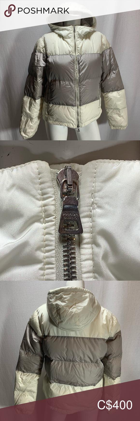 Prada Down Coat Puffer Ski Jacket S M Cream Gray Prada Ski Jacket Puffer Coat Down Filled Cream And Gray Fits Medium Large Co Ski Jacket Down Coat Jackets [ 1740 x 580 Pixel ]