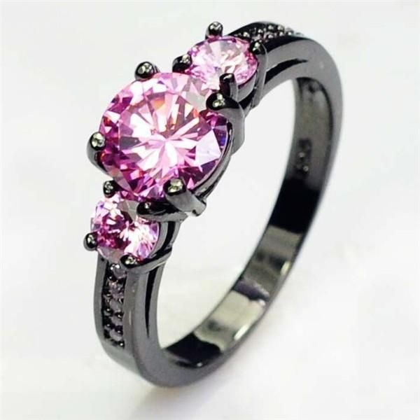 Pink And Black Tungsten Ring: Women Sapphire Jewelry Turquoise Tungsten Rings For Women