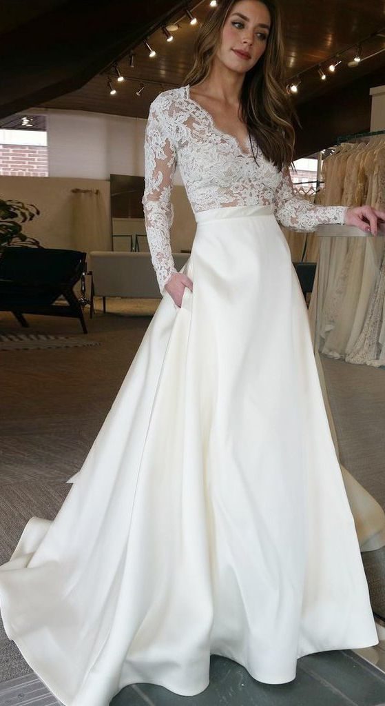 Elegant A Line V Neck Long Sleeves Off White Floor Length Prom Wedding Dress With Lace Top Ok837 Online Wedding Dress Long Sleeve Satin Wedding Dress Wedding Dress Long Sleeve,Dresses For Weddings Indian