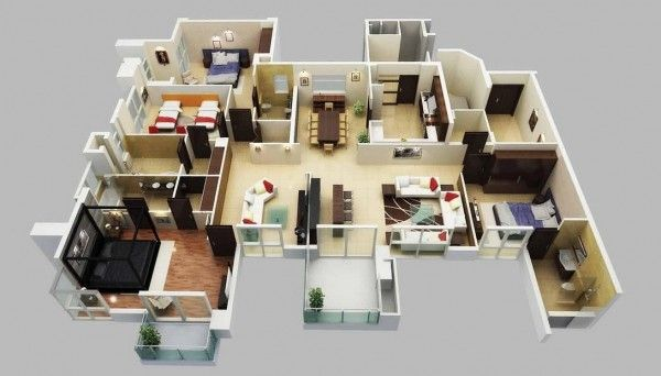4 Bedroom Apartment House Plans Bedroom 3d House Plans 4