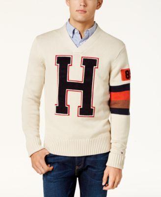 49828998c831 TOMMY HILFIGER Tommy Hilfiger Men s H Varsity Logo V-Neck Sweater .   tommyhilfiger  cloth