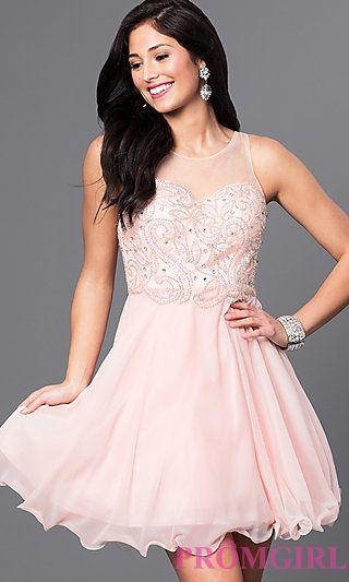 7eeefe7b59c Illusion Sweetheart Embellished Bodice Short Dress at PromGirl.com