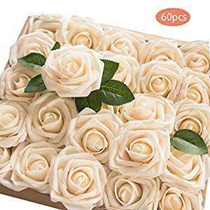 60pcs Artificial Roses Flower Heads Wedding Bouquets DIY Party Decoration