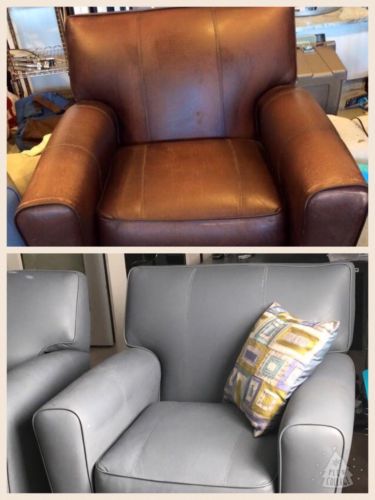 I Painted Worn Faux Leather Chairs Wiped Down With Acetone The Painted With Watered Down Acrylic Pa Paint Leather Couch Faux Leather Couch Leather Furniture