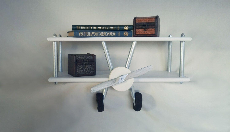 Etagere Avion Chambre Bebe plateau d'avion blanc moyen, décor d'avion, avion blanc