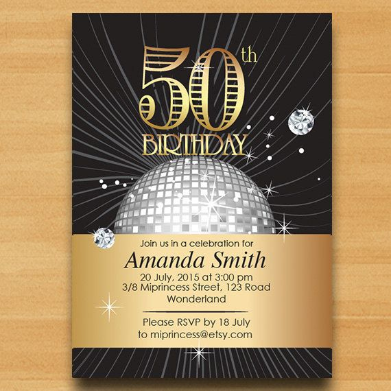 Elegant birthday invitation disco ball design gold birthday forty