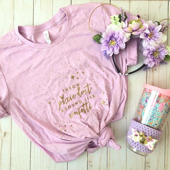 351223f67 Lilac Lavender Purple Throw Pixiedust Around Like Confetti Tinkerbell  Inspired Crew Neck Violet Lemonade Flower & Garden Festival Tee