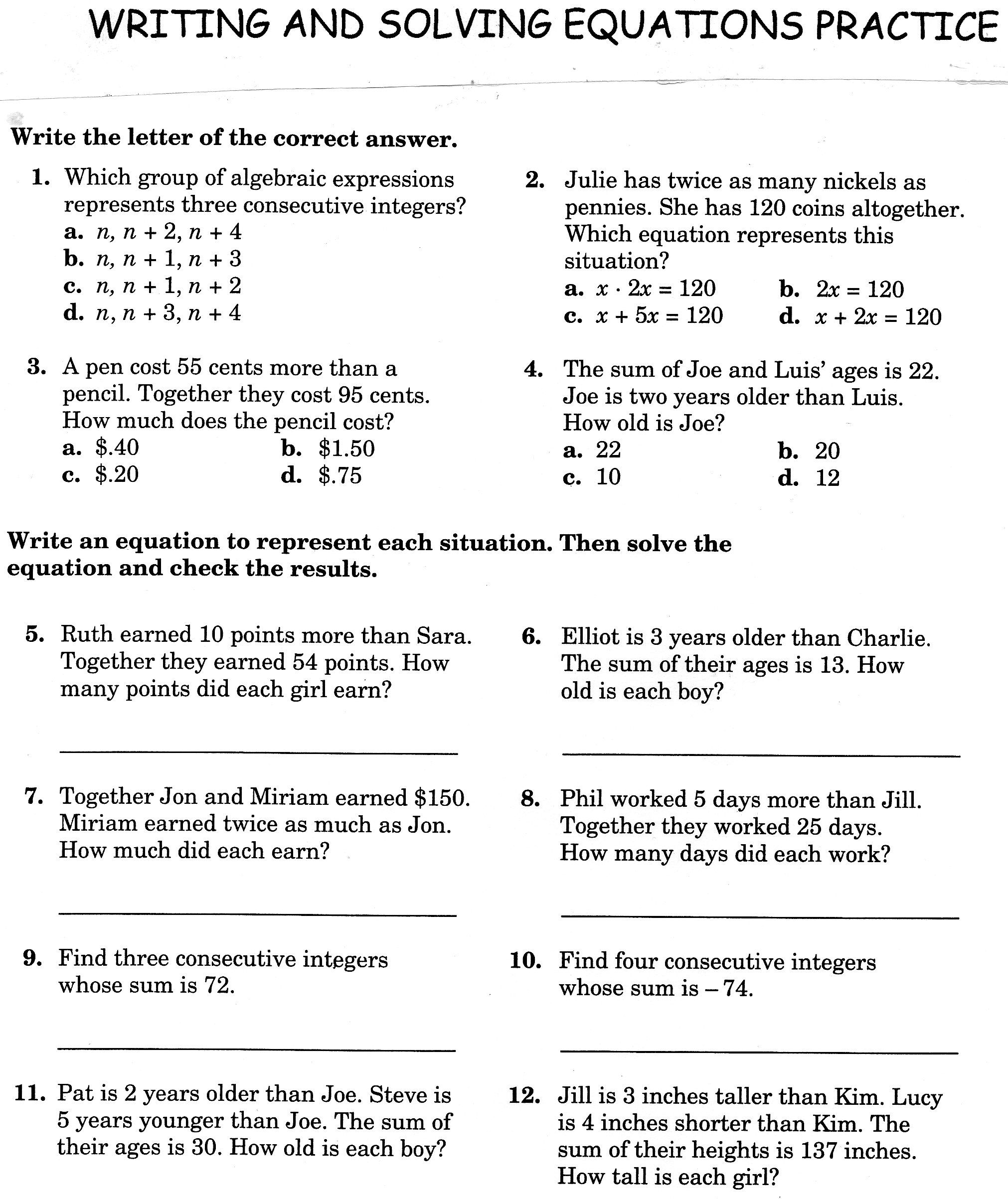 Worksheet Writing Algebraic Equations