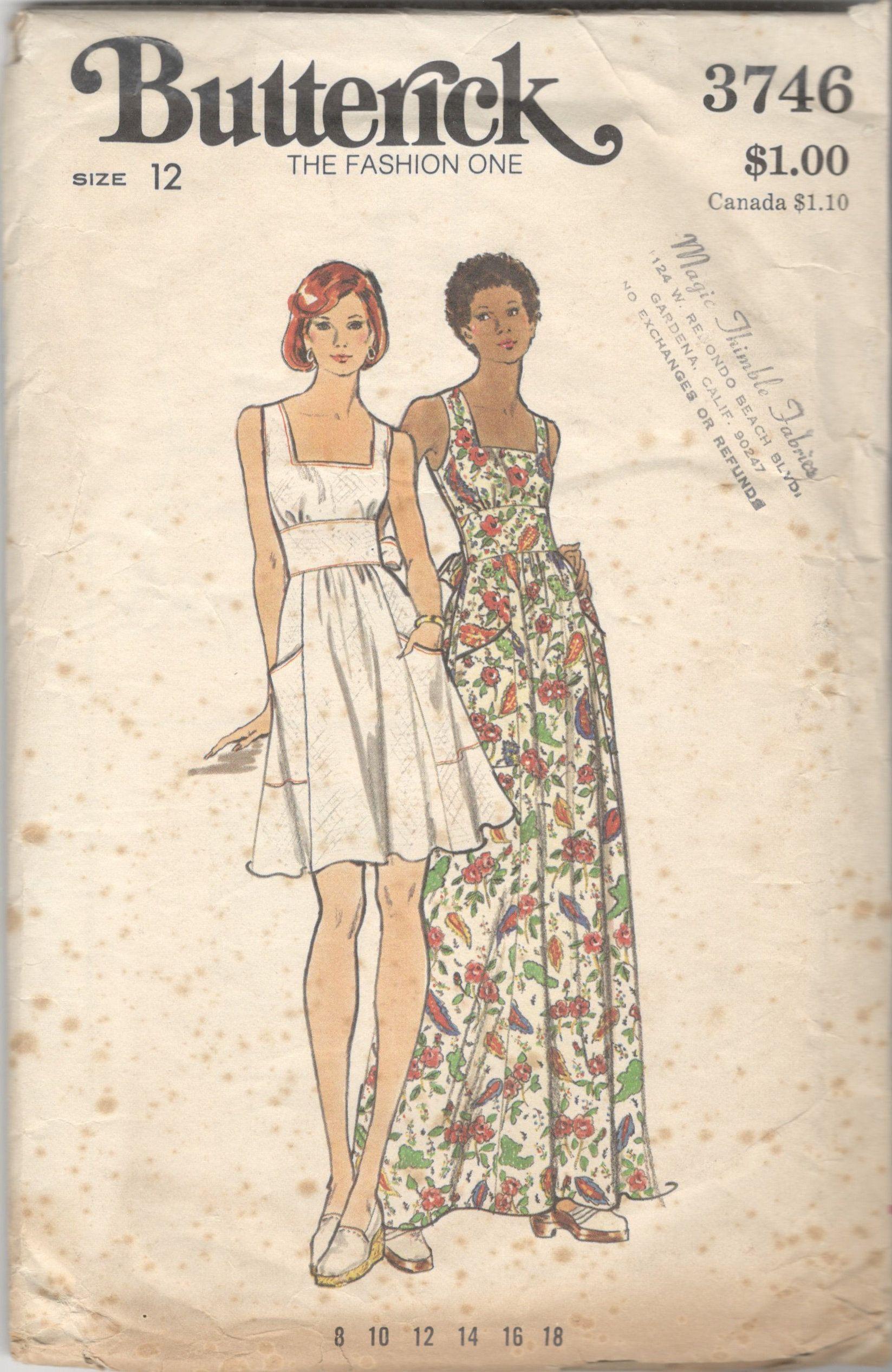 Butterick 3746 3746 1970s Misses Sleeveless Dress Pattern Etsy In 2020 Butterick Sewing Patterns Sleeveless Dress Pattern Sewing Pattern Sizes