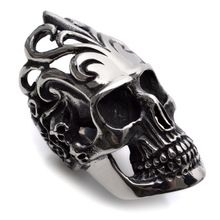 Stainless Steel Cool HUGE Silver Skull Mens Ring Size 8 9 10 11 12 R361(China (Mainland))