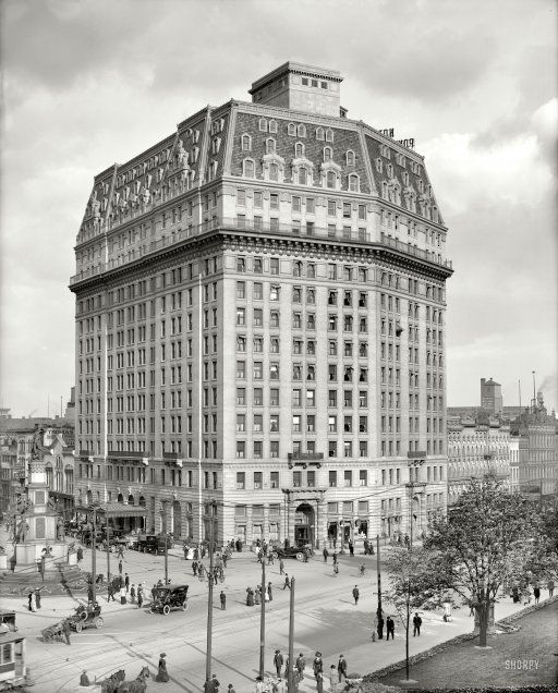 "Cadillac Hotels Michigan: Detroit, Michigan, Circa 1912. ""Hotel Pontchartrain, Soldiers' And Sailors' Monument."""