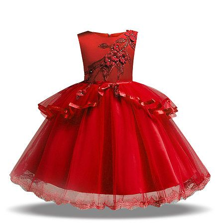 Flower Applique Solid Color Tulle Princess Dress #rosaspitzenkleider