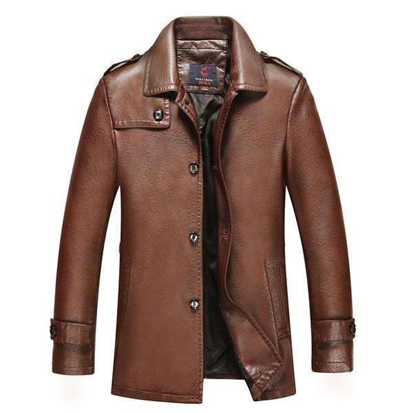 0897d4c519785 PU Leather Jacket Business Outdoor Casual Solid Color Epaulets Coat for Men