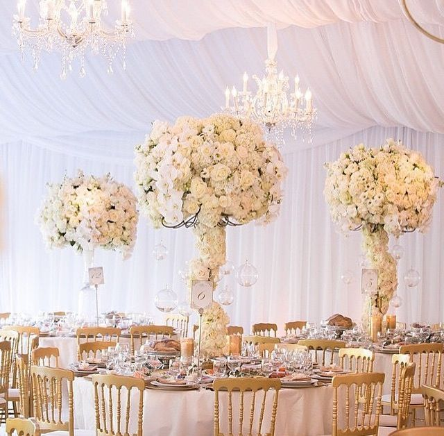 Ivory And Gold Wedding Decorations: Wedding Reception, Floral Arrangements, Centerpieces