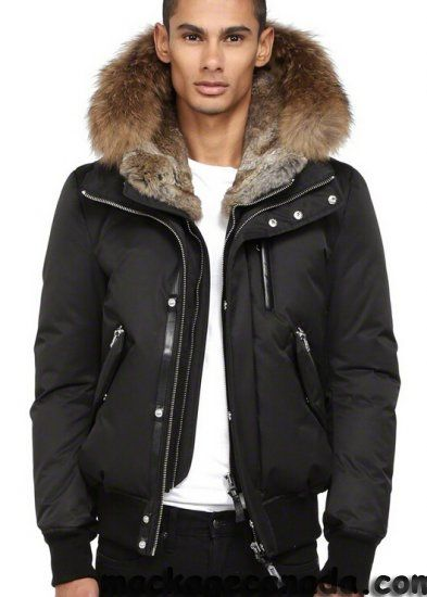 $868.04,Mackage Black DIXON-F4 WINTER DOWN BOMBER JACKET WITH FUR HOOD Men,