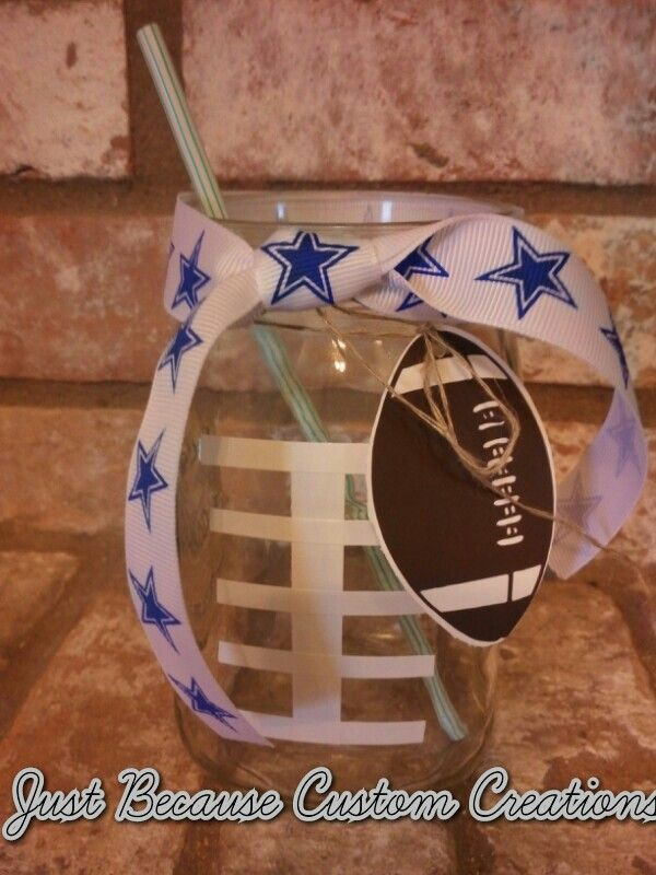 Cowboys glass, my version from another pin. White vinyl cut in strips, Sports Mania Cricut Cartridge for football tag.