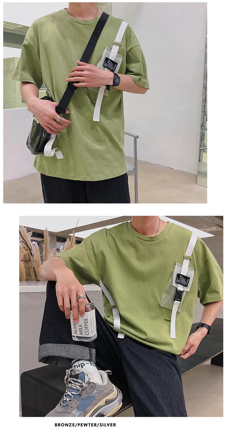 Harajuku Streetwear Men Sweatshirt Buckle Ribbons Black Hip
