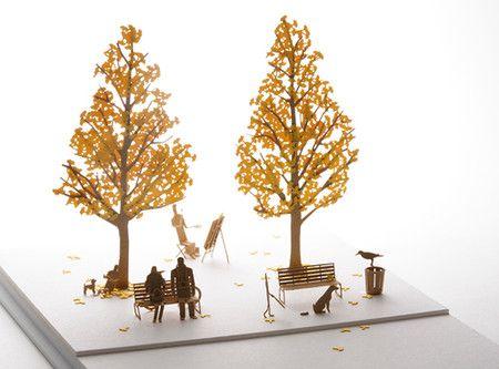 かみの工作所 1/100建築模型用添景セット No.24 街路樹編イチョウ