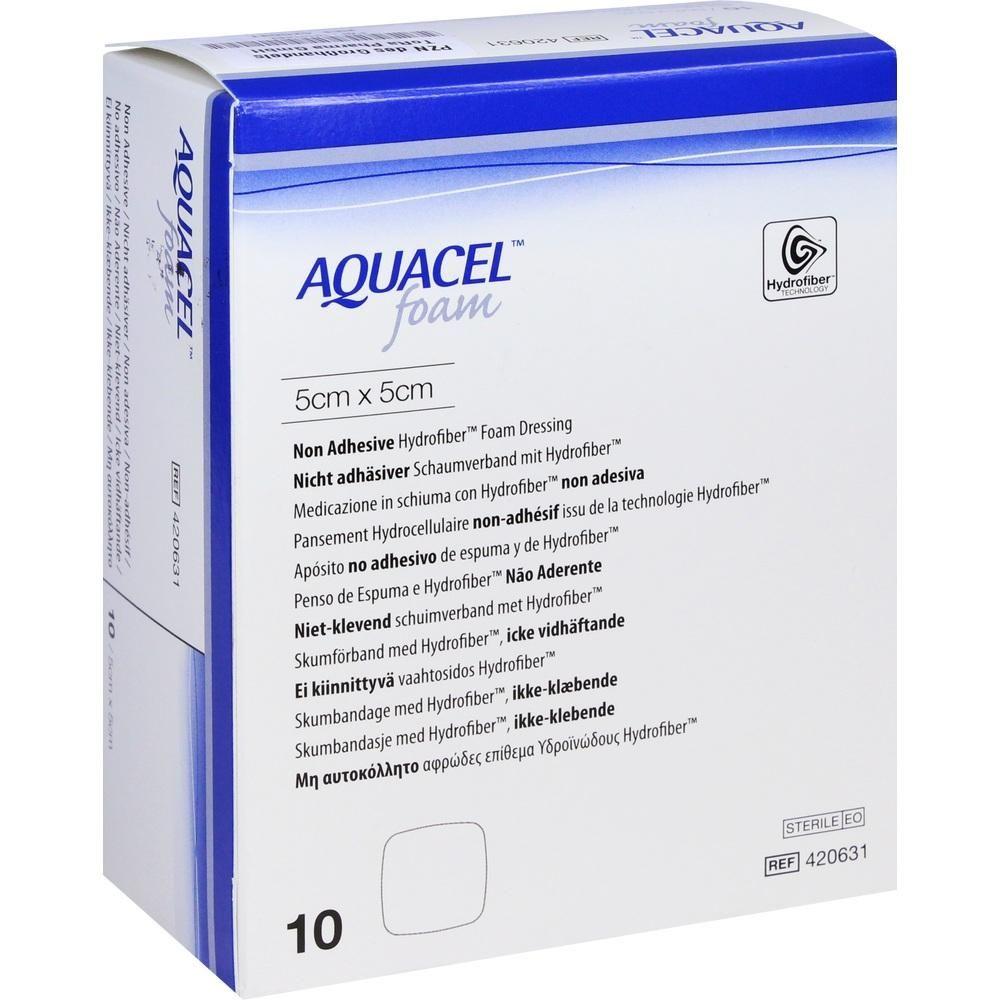AQUACEL Foam nicht adhaesiv 5x5 cm Verband:   Packungsinhalt: 10 St Verband PZN: 10101469 Hersteller: ToRa Pharma GmbH Preis: 52,25 EUR…