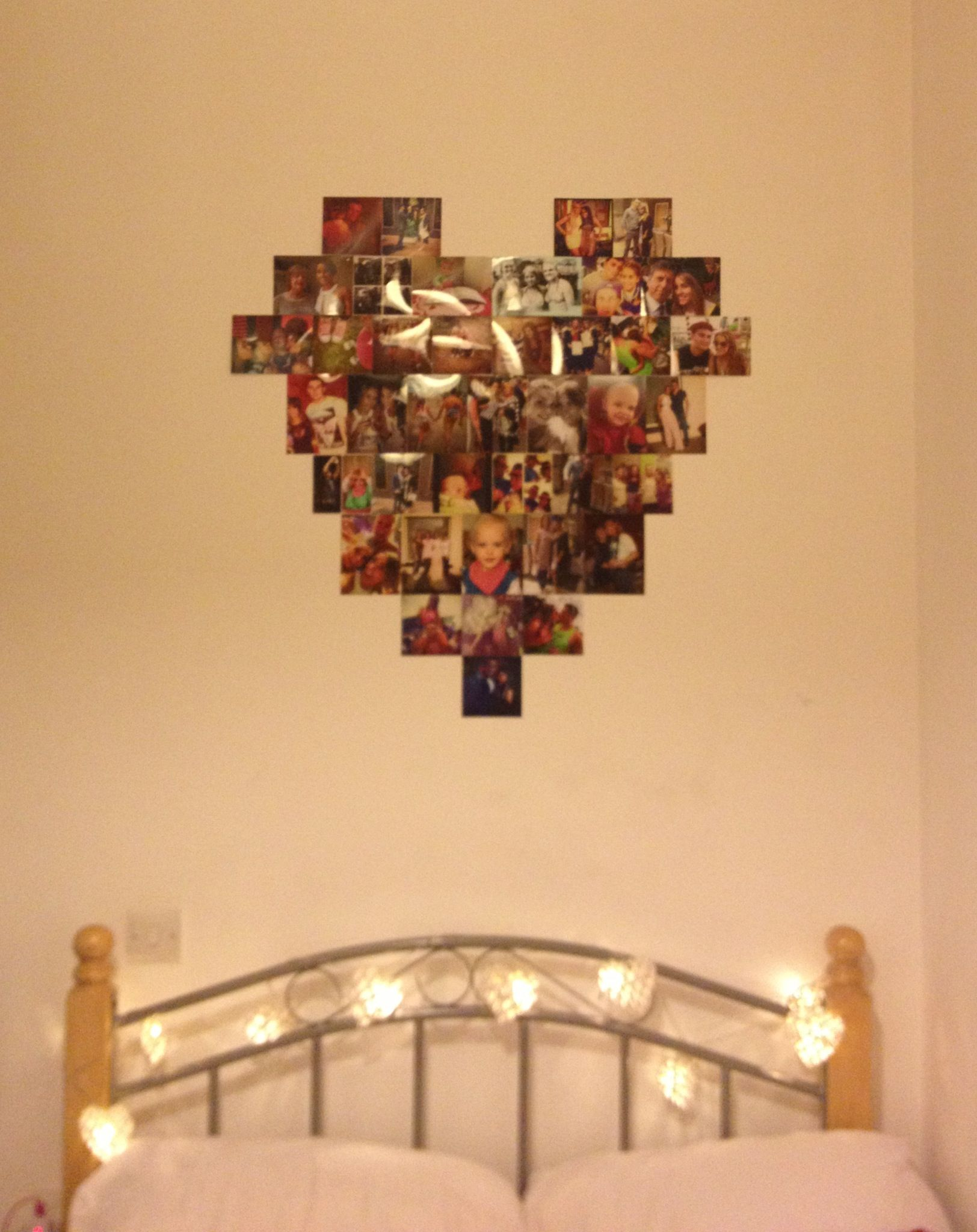 Heart shaped photo collage in my room!   decor ideas   Pinterest ...