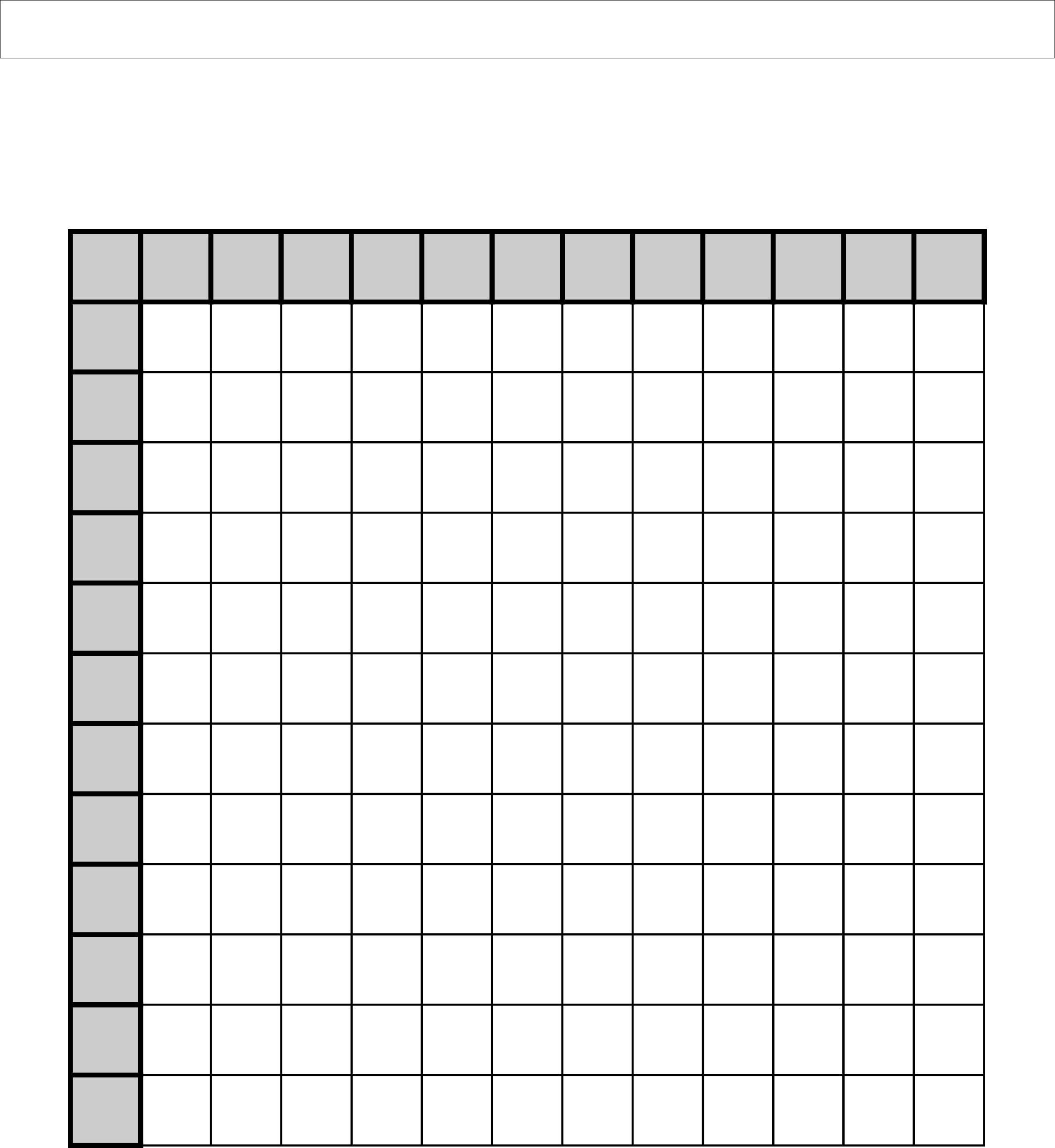 Multiplication Chart Empty Printable Blank