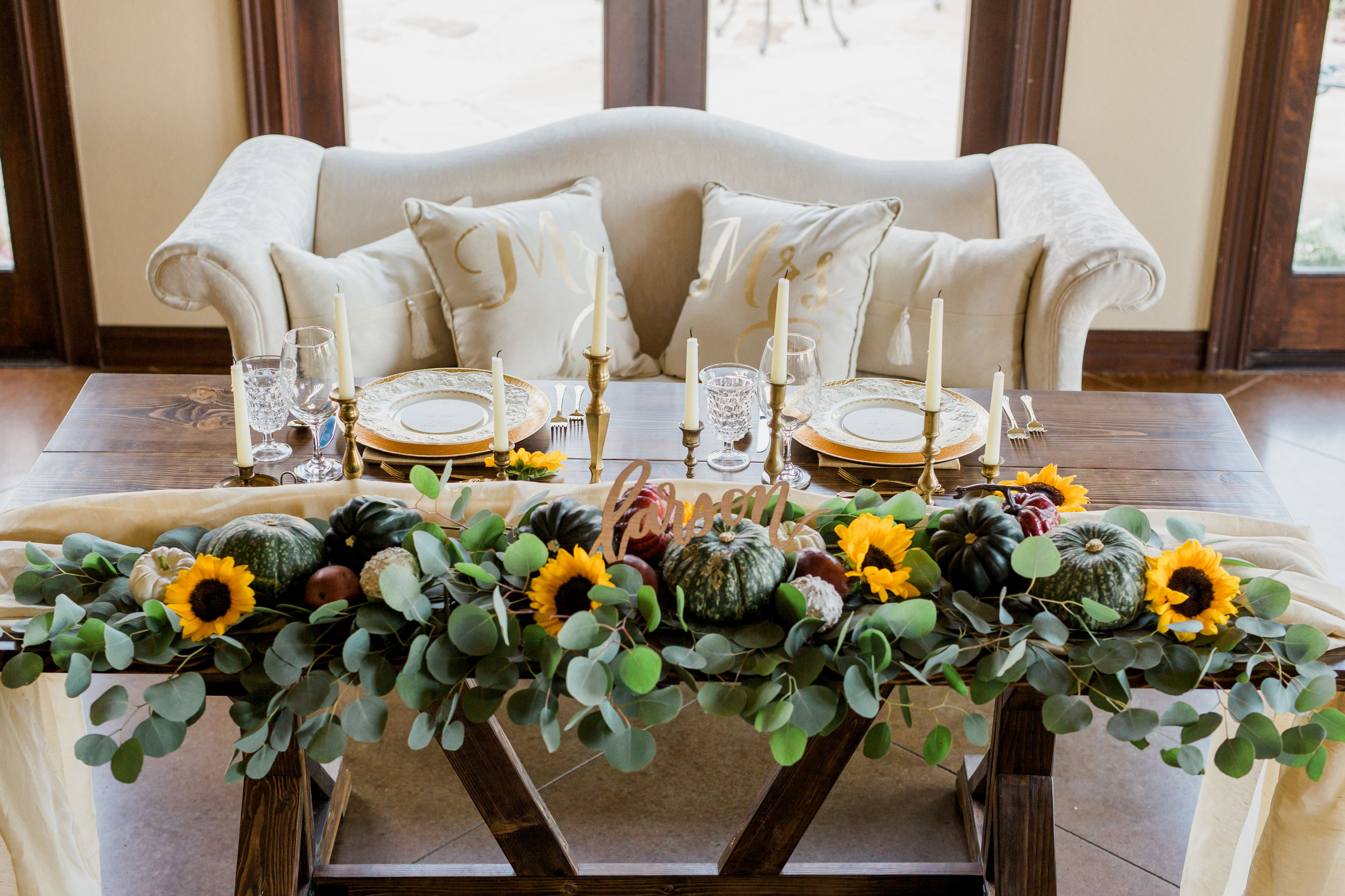 Fall Themed Sweetheart Table Fun Greenery Sunflowers And Gold
