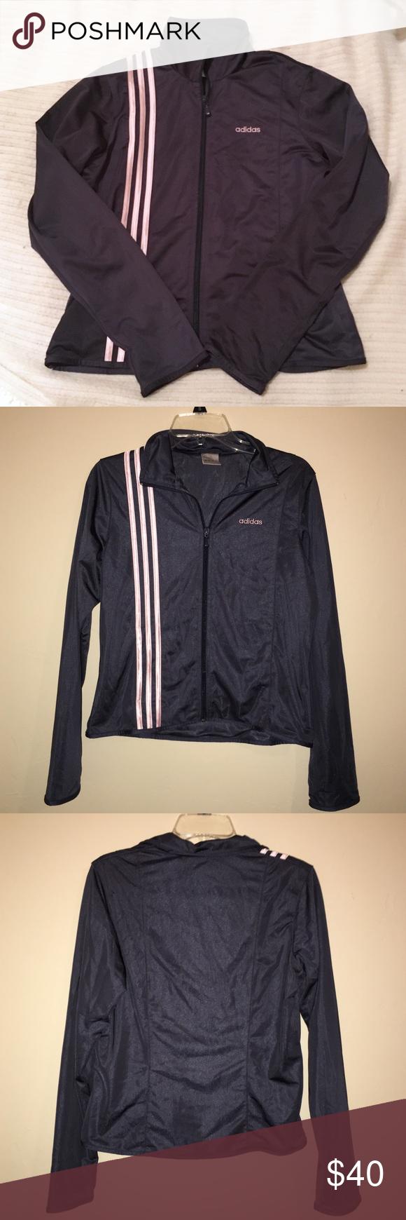 Adidas jacket black pink stripes sz med whood