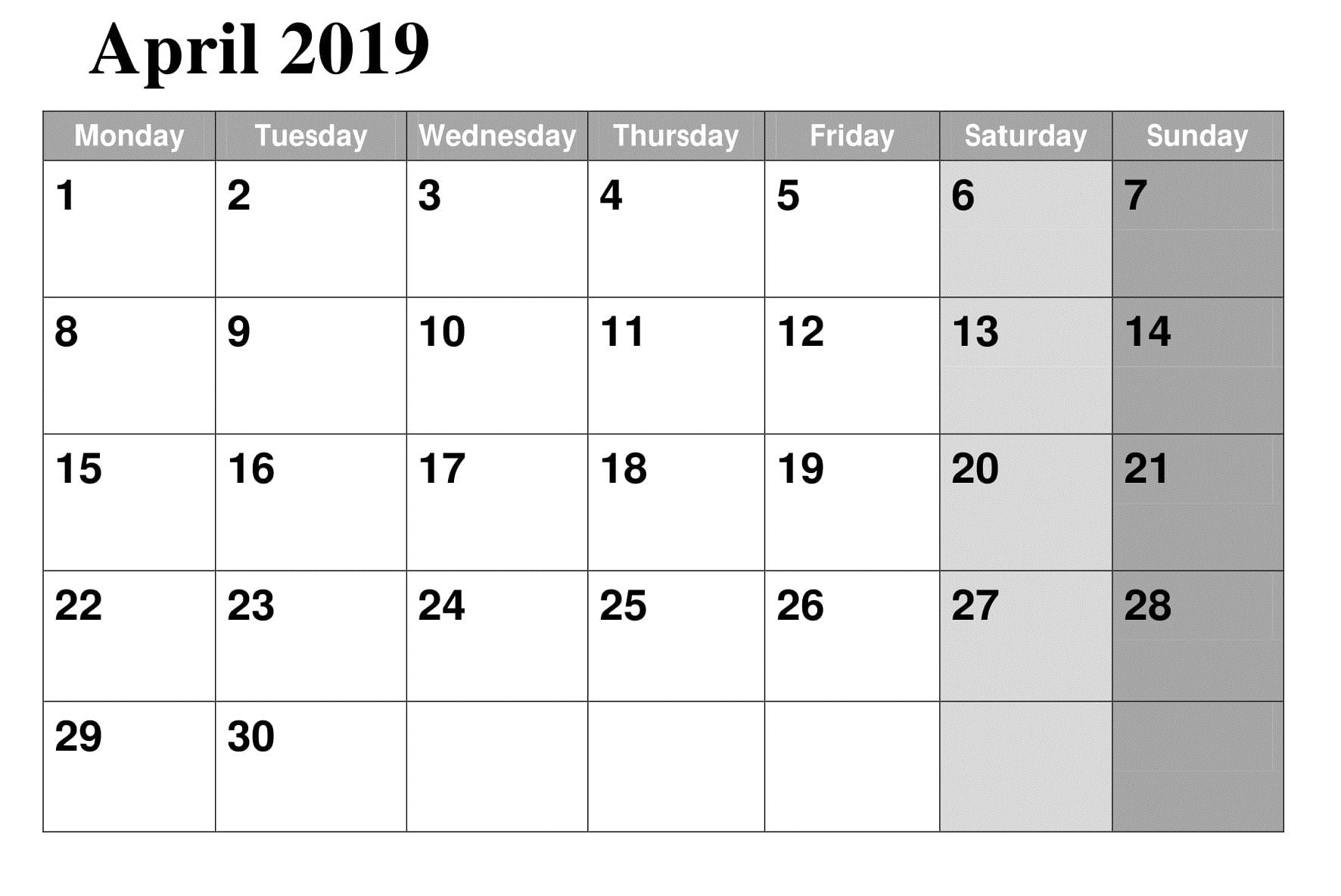 April 2019 Calendar Printable Template Calendar Word 2019 Calendar Calendar Template