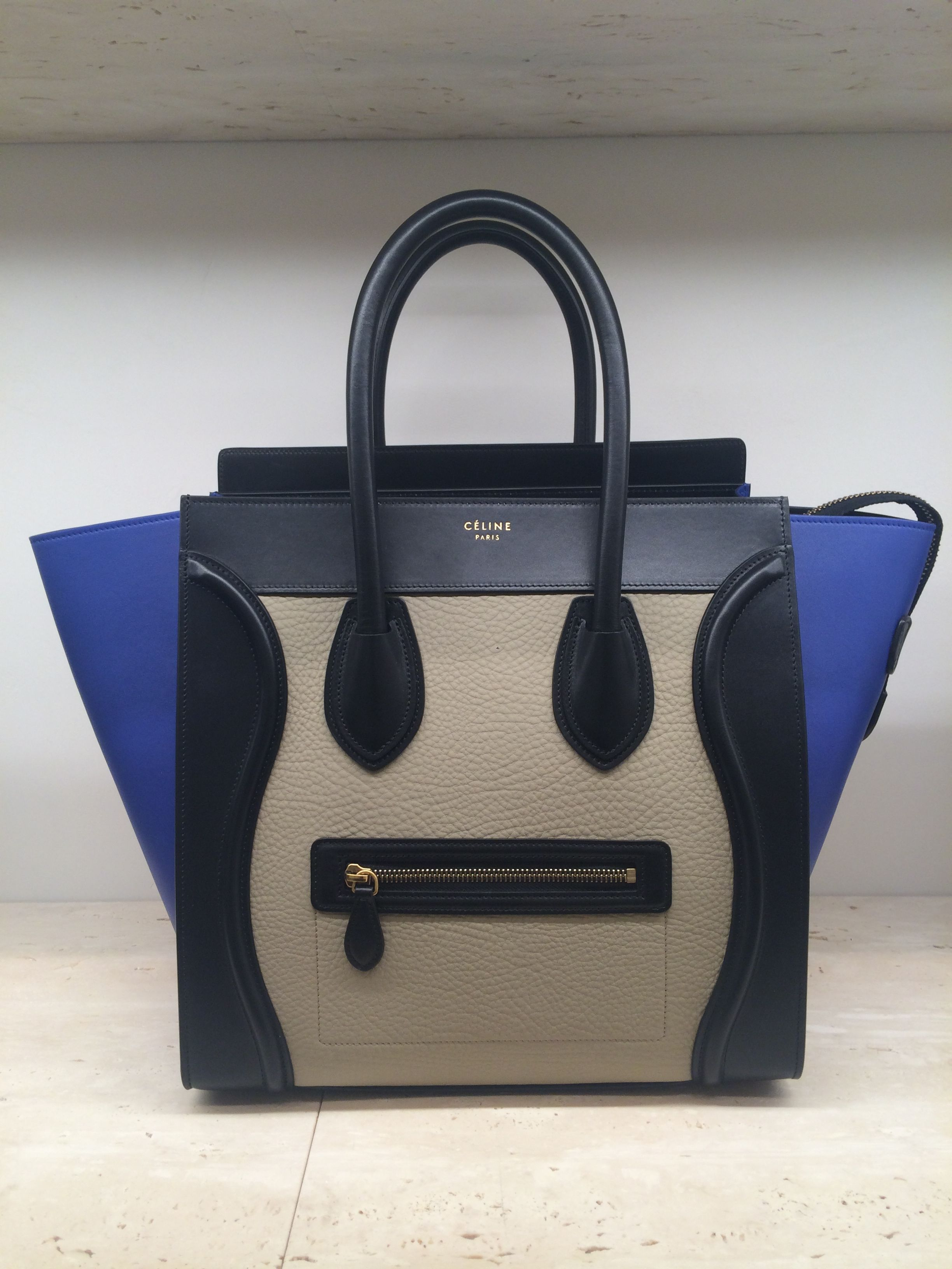 7445061ff442 Black-Blue-Tan  Tricolor  Handbag   Luggage by  Celine  Spring  2015 ...