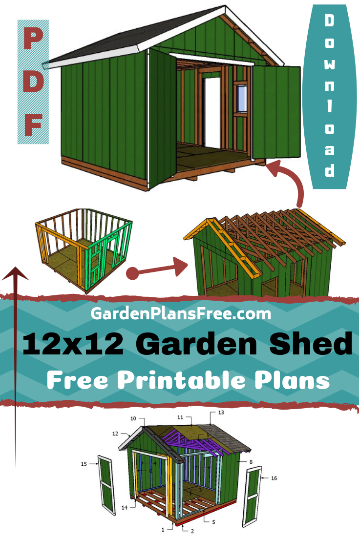 12x12 Shed Plans Free Pdf Download Diy Shed Plans Storage Shed Plans Shed Building Plans