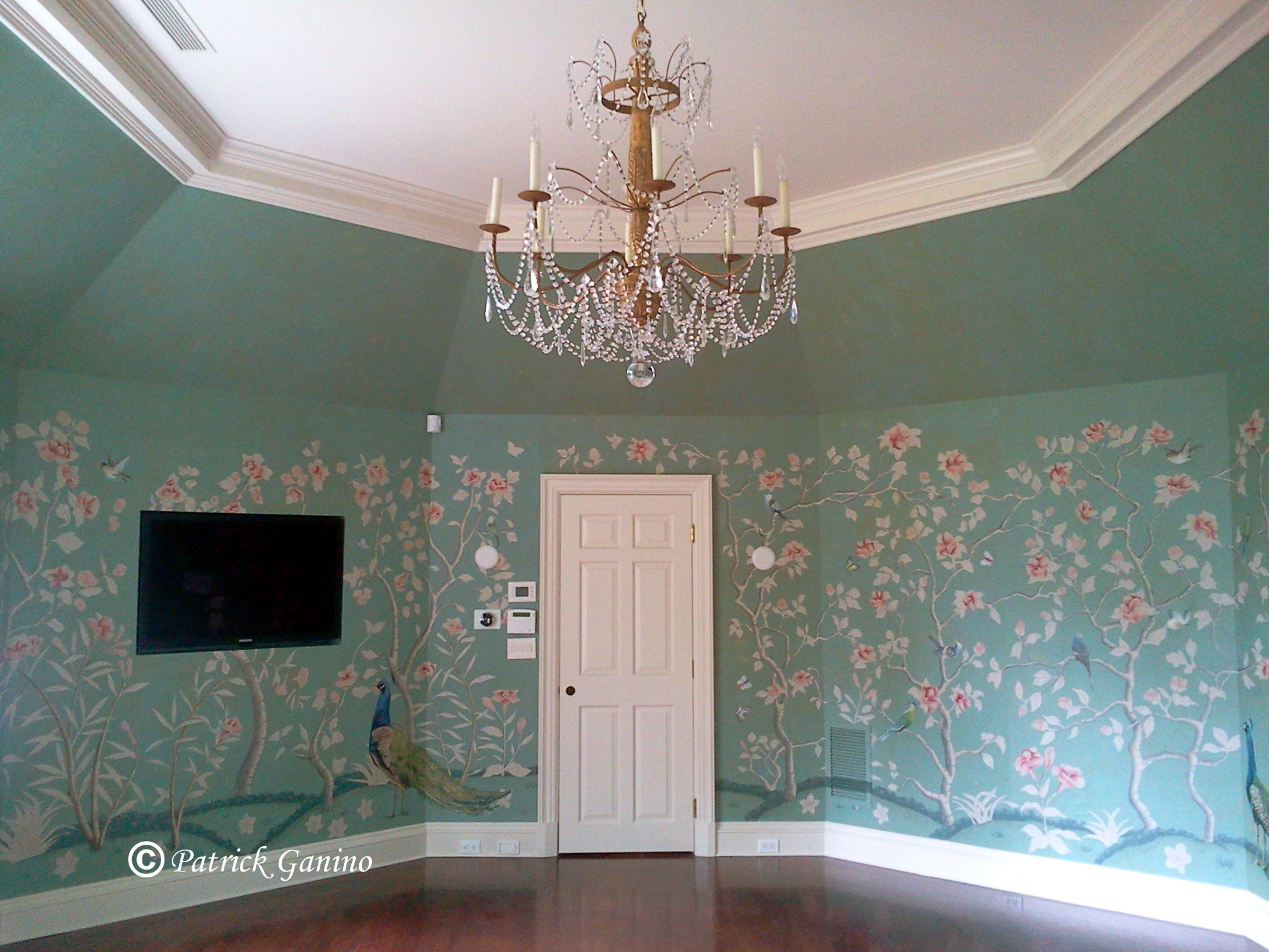 Chinoiserie mural panel in a greenwich ct chinoiserie for Chinoiserie mural
