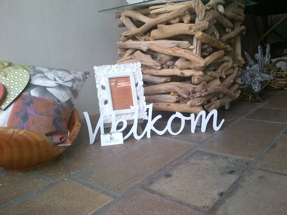 """""""Welkom""""   Size: 15cm high   Material: White PVC Foam 6mm thick   Cost: R120"""