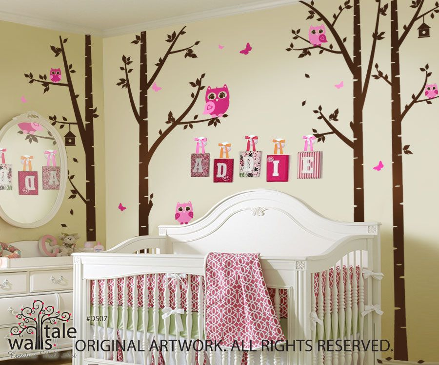 Birch Tree With Owls And Butterflies   Large Nursery Wall Decal (wall  Sticker) For Part 73