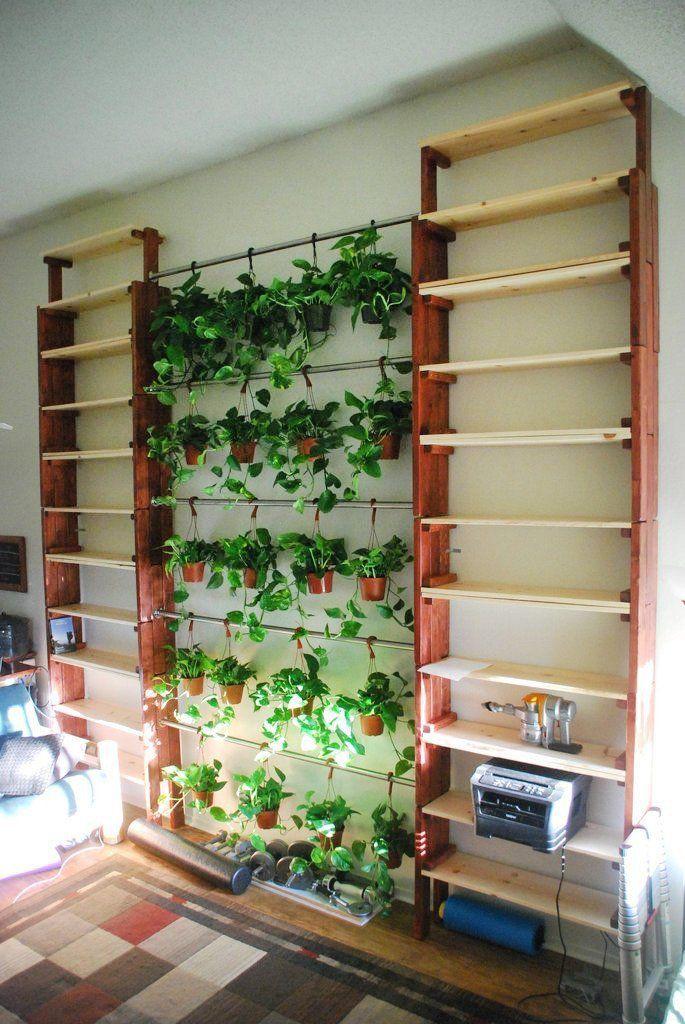 Diy Stack Able Bookshelves And Hanging Indoor Garden Indoor Garden Herbs Indoors Wall Herb