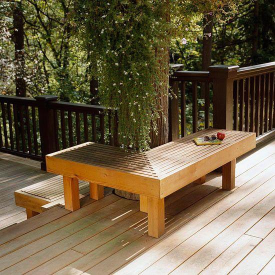 Banc Bois Marron Terrasse Angle Confortable Fabriquer Un Banc De